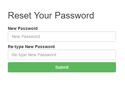 Reset Password Landing Page